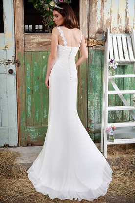 Sheath Draped Floor-Length Spaghetti Chiffon Wedding Dress With Appliques And Brush Train