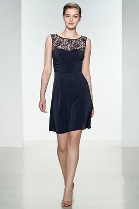 A-Line Sleeveless Short/Mini Scoop-Neck Chiffon&Lace Bridesmaid Dress