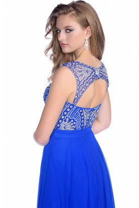 Sleeveless A-Line Chiffon Prom Dress With Keyhole Back And Sequined Bodice