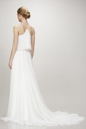 Halter Floor-Length Pleated Chiffon Wedding Dress With Court Train