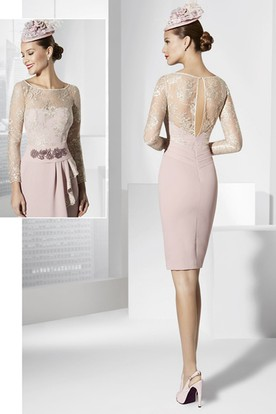 Pencil Long Sleeve Scoop Neck Short Mini Appliqued Jersey Prom Dress With Draping