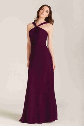 Sleeveless Strapped Ruched Chiffon Bridesmaid Dress