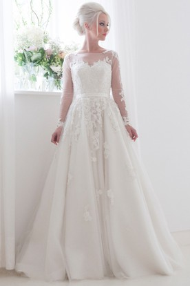 A-Line Scoop Neck Illusion Sleeve Appliqued Tulle Wedding Dress