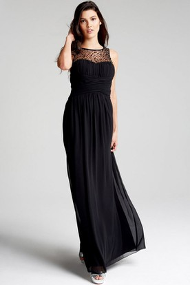 Ruched Bateau Neck Sleeveless Chiffon Bridesmaid Dress With Beading And Straps