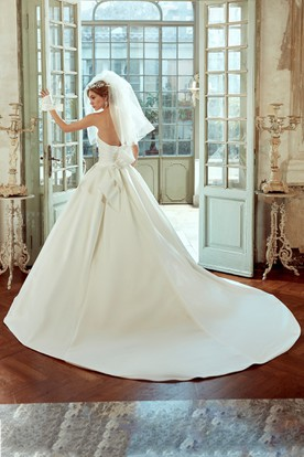 Strapless Satin Wedding Dress With Pleated Bodice And Back Bow