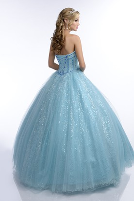 Ball Gown Floor-Length Sweetheart Sleeveless Sequins Crystal Detailing Lace-Up Corset Back Dress
