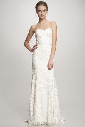 Sheath Sweetheart Lace Wedding Dress With Bow