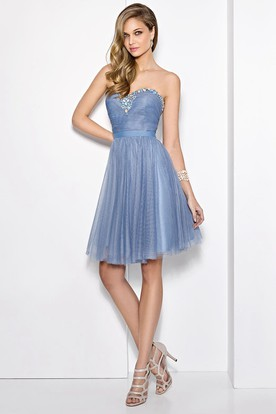 A Line Mini Sweetheart Ruched Sleeveless Tulle Prom Dress With Beading And Pleats