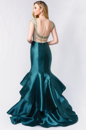 Mermaid Long Scoop-Neck Cap-Sleeve Satin Court Train Backless Dress With Beading And Tiers