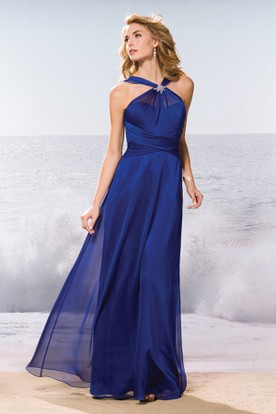 High-Neck A-Line Long Gown With Brooch And Ruches