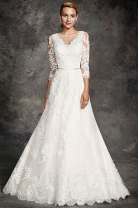Long Scoop Appliqued Long-Sleeve Lace Wedding Dress With Chapel Train And Illusion