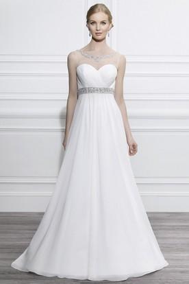 Scoop Floor-Length Criss-Cross Empire Jeweled Chiffon Wedding Dress