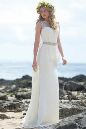 Maxi High Neck Jeweled Chiffon Wedding Dress With Peplum