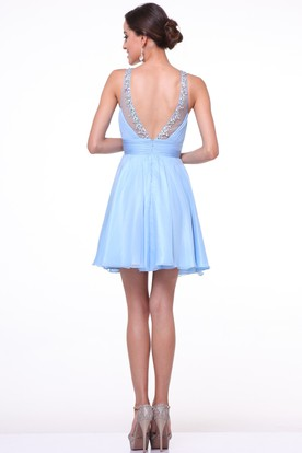 A-Line Mini Scoop-Neck Sleeveless Chiffon Deep-V Back Dress With Beading And Ruching