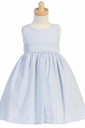 Tea-Length Tiered Sleeveless Flower Girl Dress