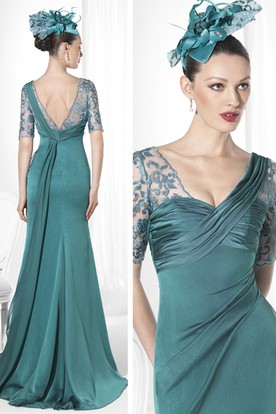 Sheath Floor-Length V-Neck Short-Sleeve Embroidered Jersey Prom Dress With Ruching