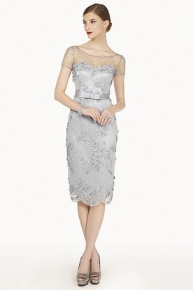 Beading Net Short Sleeve Sheath Knee Length Lace Prom Dress With Satin Belt