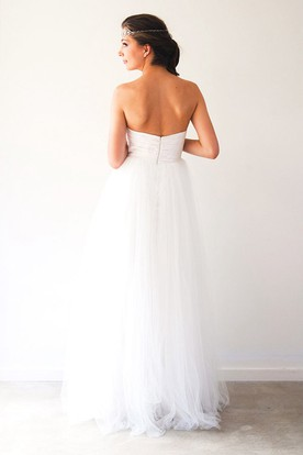 A-Line Long Ruched Sweetheart Sleeveless Empire Tulle Wedding Dress