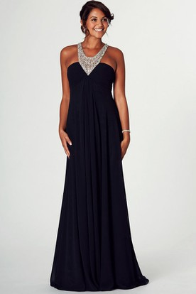 Beaded Sleeveless V-Neck Empire Chiffon Prom Dress