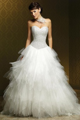 Ball Gown Ruffled Sweetheart Tulle Wedding Dress With Beading And Court Train
