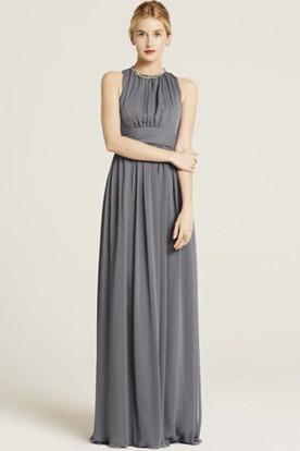 Floor-Length Sleeveless Beaded High Neck Chiffon Bridesmaid Dress With Bow