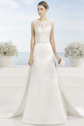 Scoop Floor-Length Beaded Satin Wedding Dress With Watteau Train And Illusion