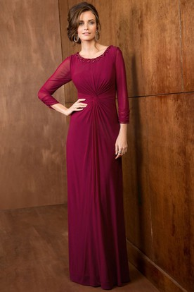 3-4 Sleeved A-Line Long Flowy Gown With Beadings And Pleats