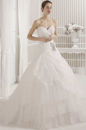 Ball Gown Tiered Sweetheart Long Tulle Wedding Dress With Criss Cross