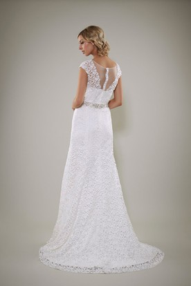 Sheath Cap-Sleeve Scoop-Neck Maxi Jeweled Lace Wedding Dress