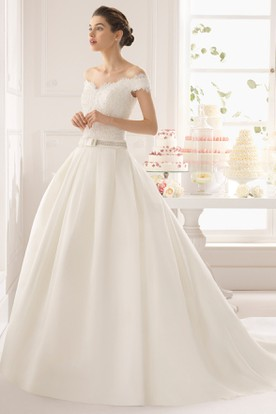 Ball Gown Jeweled Off-The-Shoulder Satin Wedding Dress With Lace