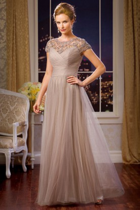 Cap-Sleeved A-Line Tulle Mother Of The Bride Dress With Pleats And Beadings