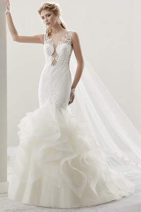 Cap Sleeve Jewel-Neck Sheath Gown With Ruffles And Illusion Design