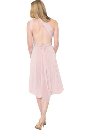 Tea-Length Sleeveless One-Shoulder Ruched Chiffon Muti-Color Convertible Bridesmaid Dress