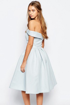 A-Line Knee-Length Strapless Satin Bridesmaid Dress