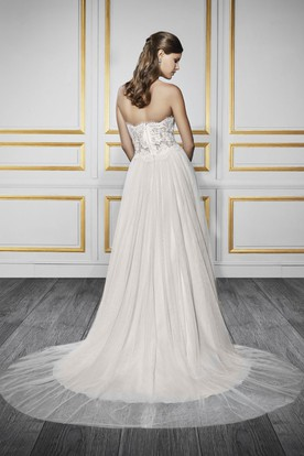 A-Line Sweetheart Tulle&Lace Wedding Dress With Zipper