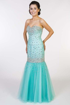 Trumpet Long Sweetheart Sleeveless Beaded Tulle Prom Dress