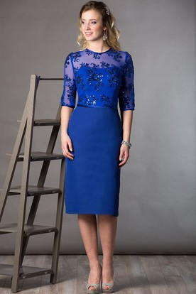 High Neck Half Sleeve Sheath Knee Length Mother Of The Bride Dress With Sequined Top