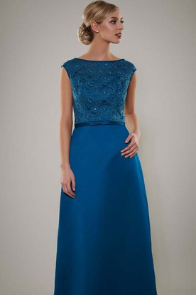 Floor-Length Bateau Neck Sleeveless Lace Satin Bridesmaid Dress With Beading
