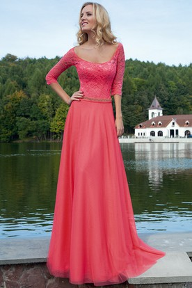 Sheath Square-Neck Maxi Half-Sleeve Lace Tulle Prom Dress With Waist Jewellery