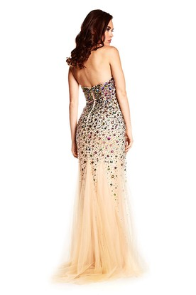 Mermaid Sweetheart Beaded Sleeveless Tulle Prom Dress
