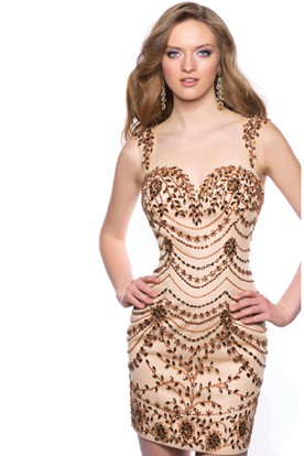 Short Sheath Jeweled Sleeveless Homecoming Dress With Sweetheart Neck