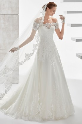 Sweetheart Off-Shoulder Draping Wedding Dress With Scalloped Neckline And Lace Appliques
