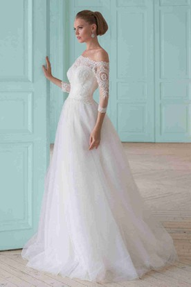 A-Line Beaded Off-The-Shoulder Long-Sleeve Tulle Wedding Dress With Lace And Illusion