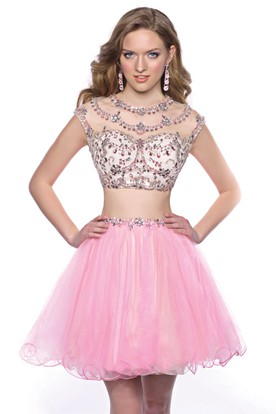 19f381b3a58 Cap Sleeve Two-Piece Mini Homecoming Dress With Jeweled Top And Tulle Skirt  ...