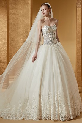 Sweetheart Ball Gown With Beautiful Beaded Corset And Court Train