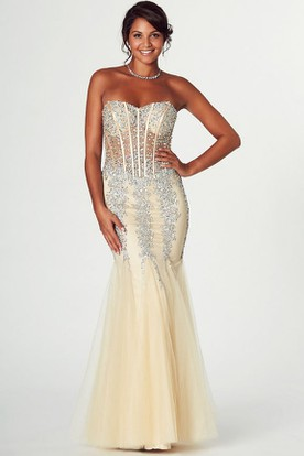 Mermaid Maxi Sleeveless Beaded Sweetheart Tulle Prom Dress