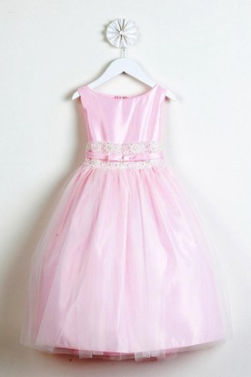 Tea-Length Tiered Bowed Tulle&Lace Flower Girl Dress With Sash