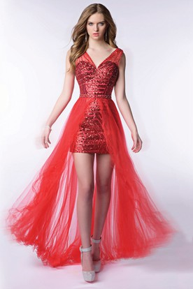 High-Low V-Neck Sleeveless Sequined Sheath Homecoming Dress With Tulle Overlay