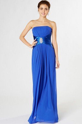 Ruched Strapless Chiffon Bridesmaid Dress With Broach And Corset Back