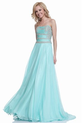 A-Line Maxi Strapless Sleeveless Chiffon Illusion Dress With Ruching And Beading